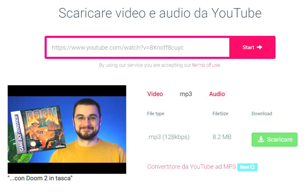 Come scaricare musica da YouTube y2mate.com